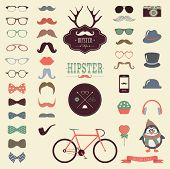 Hipster Colorful Retro Vintage Vector Icon Set, Mustaches, Hats, Badges, Labels, Bicycle Collection poster
