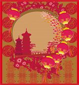 Chinese New Year card - Traditional lanterns and Asian buildings , vector illustration poster