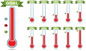 Customizable goal thermometer with multiple levels of fill and multiple arrow styles poster