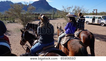 Arizona, Usa - February 04, 2014: Visitors Ride On The Hourse Back At Arizona, Usa. Horseback Riding