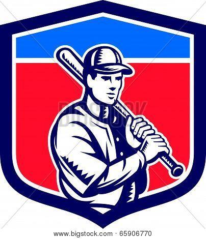 Baseball Holding Bat Shoulder Retro