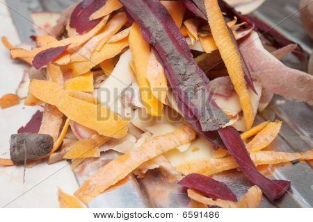 skin of peeled vegetables