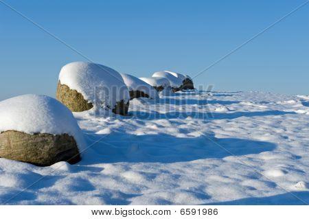 Stones in the snow