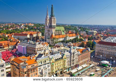 Zagreb Main Square And Cathedral Aerial View