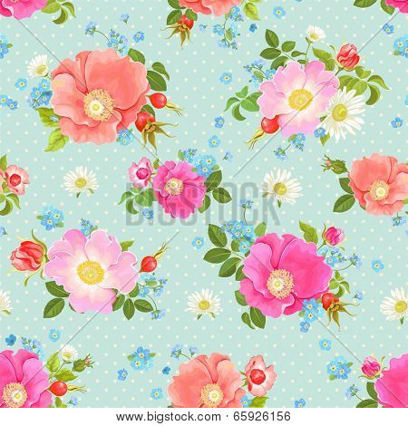 Seamless vector pattern with flowers and rose hips, forget-me-not and chamomiles.