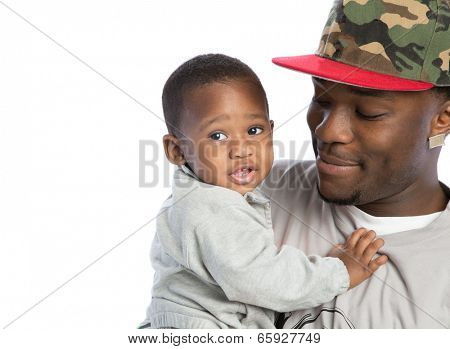 Smiling Young African American Father Holding One Year Old Baby Boy Closeup Portrait Isolated on White Background