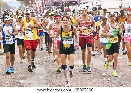 Joyful Runners And Spectators Enjoying Comrades Marathon