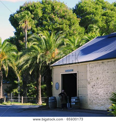 Barossa Valley, South Australia – May 29, 2014: Knife Maker Standing Outside The Coach House Door At