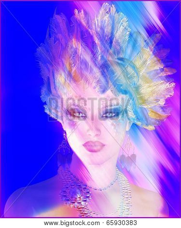 A colorful abstract, artistic render of Helen of Troy.