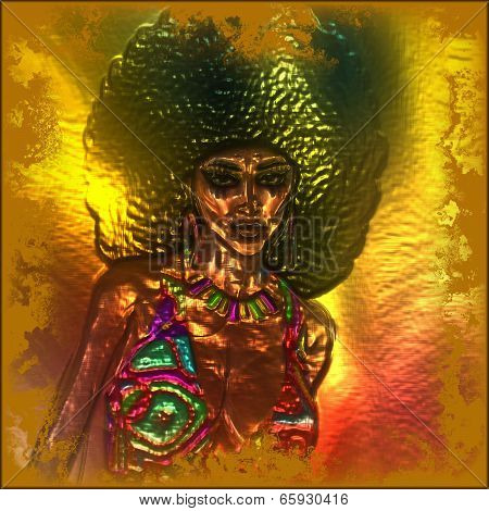 Retro metallic abstract image of a woman with an afro hairstyle.