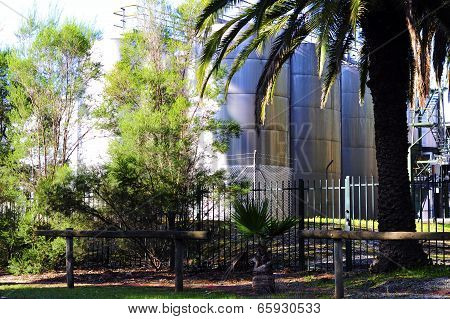 Barossa Valley, South Australia – May 29, 2014: Large Steel Wine Vats Among Palm Trees At Seppeltsfi