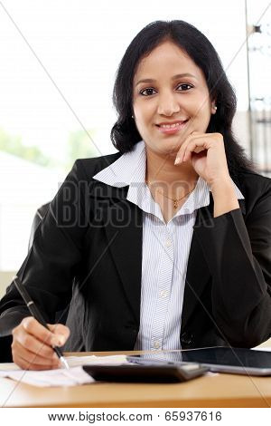 Business Woman Working With Tablet Computer
