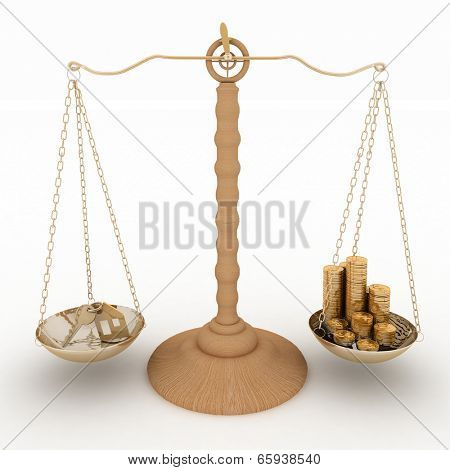 House icon with key and by chinks in the bowls of scales. 3d render image