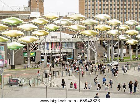 Pedestrians in Stratford, London