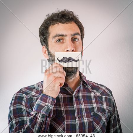 man with fake paper moustaches