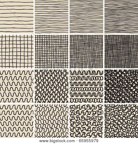 Basic Doodle Seamless Pattern Set No.1 In Black And White