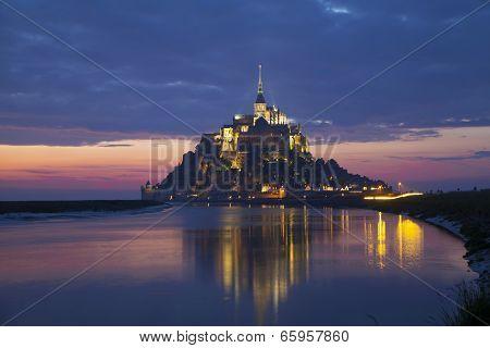 Evening scene of Mont Saint Michel Normandy France poster
