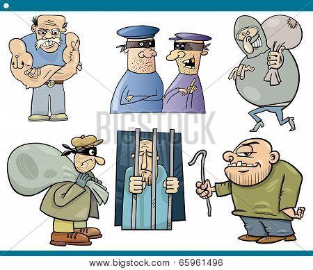 Thieves And Thugs Cartoon Set
