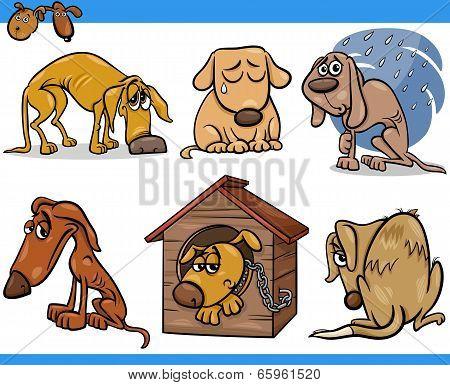 Sad Stray Dogs Cartoon Illustration Set