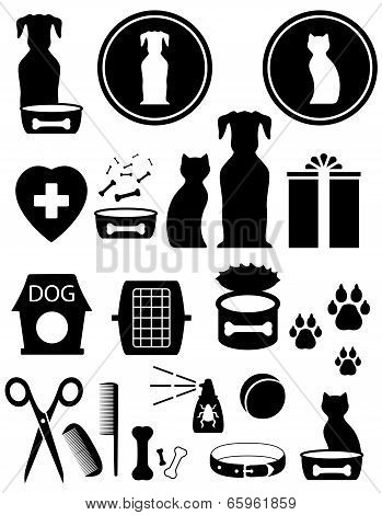 set isolated black goods and pet silhouet poster