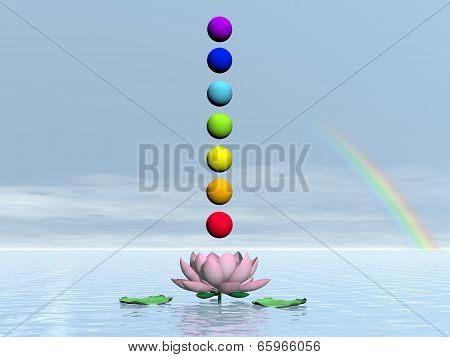 Chakras and rainbow - 3D render