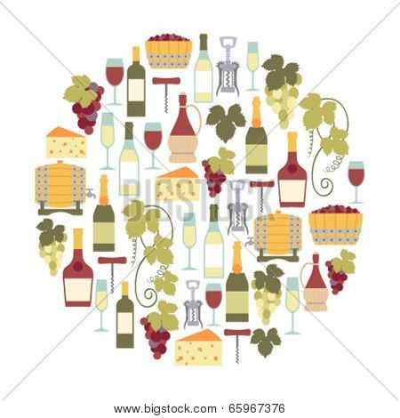 round design element with wine icons