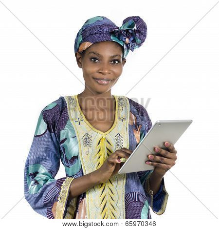Pretty African Woman With Tablet Pc