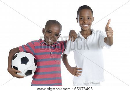 Two African Boys With Foot Ball Thumb Up