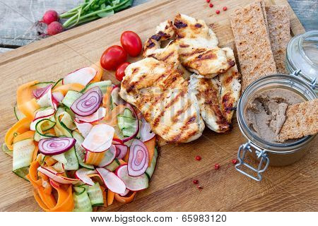 Grilled Chicken, Vegetable Salad And Pate