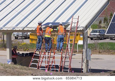 Panel Installation On Solar Carport