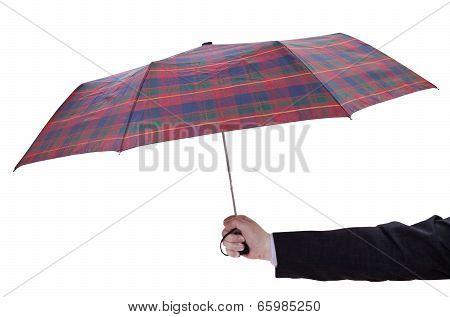 Man Holdind Open Checkered Umbrella