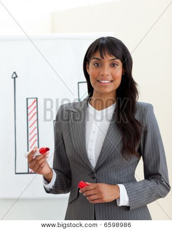 Ethnic Young Businesswoman Reporting Sales Figures