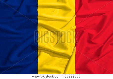 Romania Flag On A Silk Drape Waving
