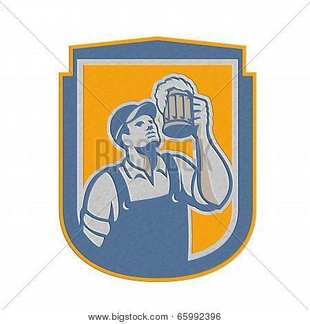 Metallic Bartender Toast Beer Mug Shield Retro