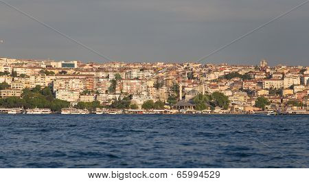 Uskudar district and Bosphorus Strait in Istanbul poster