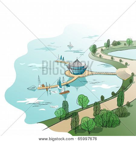 Vector colored linear landscape with quay and boats
