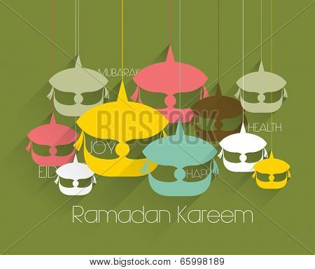 Vector Flat Malay Wau (Moon Kite) Graphics. Translation: Ramadan Kareem - May Generosity Bless You During The Holy Month.