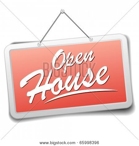 detailed illustration of a red shop sign with open house information, eps10 vector
