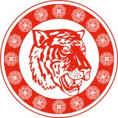 illustration of a tiger head facing front set inside a decorative circular border poster