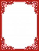 Romantic scrollwork frame for Valentines Day with leaf scrolls and copy space poster