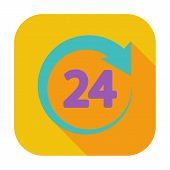 24 hours. Single flat color icon. Vector illustration. poster
