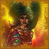 This retro image of a woman with an afro hairstyle all comes together against a metallic abstract background and effect to complete this digital art image. poster