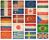 Grunge flags: USA, Great Britain, Italy, France, Denmark, Germany, Russia, Japan, Canada, Brazil, Turkey, Netherlands, Australia, Poland, Sweden, Greece, China and others poster
