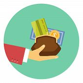 Colorful vector icon of the hand of a businessman giving a purse filled with money and a bank card in a concept of the granting of a financial credit or loan poster
