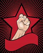 Fist of power - mans clenched fist inside a red star with a blank banner below with a background of radiating lines vector illustration poster