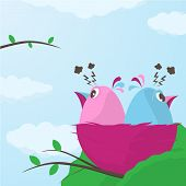Two cute little cartoon little birds in a nest having a fight sitting with their backs to each other in anger ignoring one another vector illustration poster