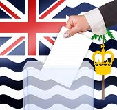 electoral vote by ballot under the Brit ind Ocean Ter flag poster
