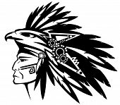 aztec tribe warrior wearing feather headdress with eagle profile head - black and white vector outline poster