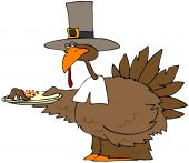 This illustration depicts a turkey in a Pilgrim hat and collar holding a plate of mashed potatoes and yams. poster