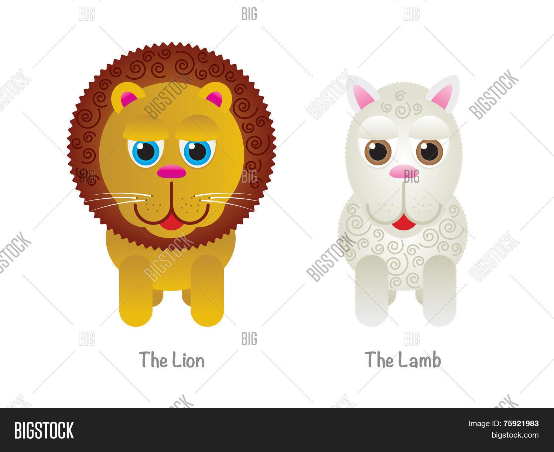 Cute Lion And Lamb Illustrations